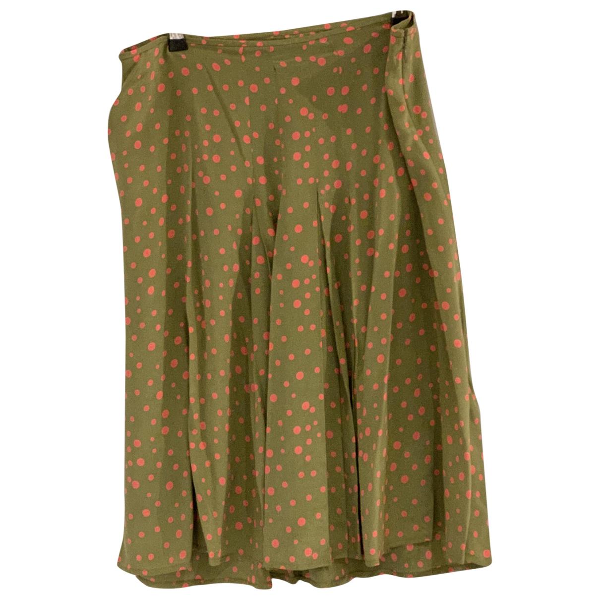 - Jupe   pour femme en soie - kaki