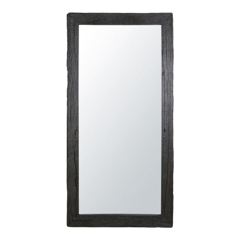 Spiegel aus recyceltem verbranntem Holz, schwarz 101x201