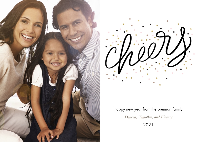 New Year's Photo Cards 5x7 Cards, Premium Cardstock 120lb with Scalloped Corners, Card & Stationery -Confetti Cheers