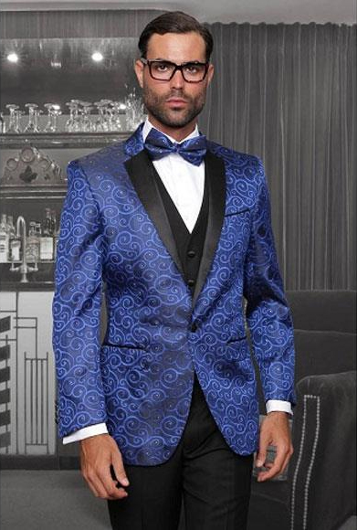 One Button Three Piece New Fashion Tuxedo Suits Flat Front Pants
