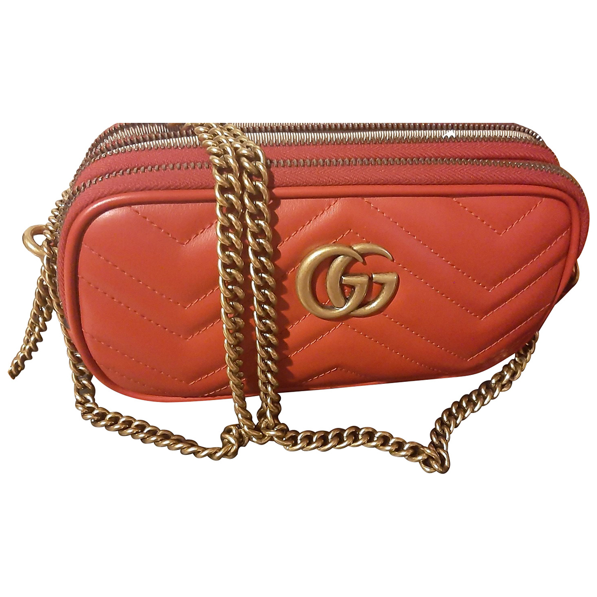 Gucci Marmont Handtasche in  Rot Leder
