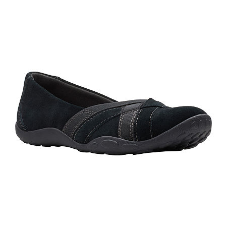 Clarks Womens Haley Jay Slip-On Shoe, 8 Wide, Black
