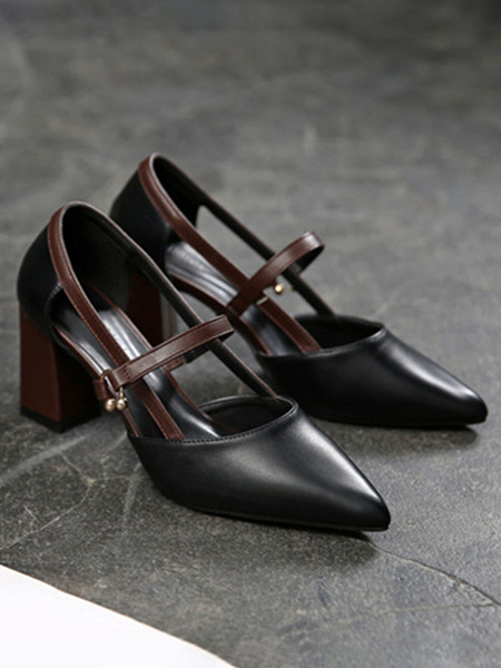 Milanoo Mid-Low Heels For Woman Chic Pointed Toe Chunky Heel Metal Details Stylish Black Pumps Heels