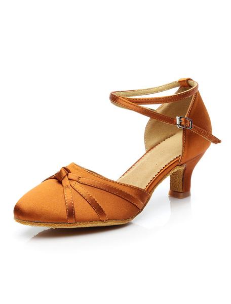 Milanoo Latin Dance Shoes Burgundy Ballroom Dance Shoes Round Toe Criss Cross Dancing Shoes