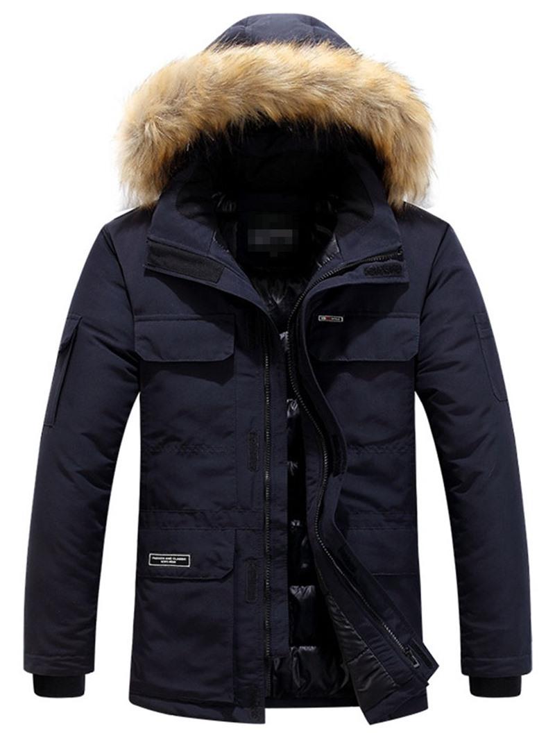 Ericdress Hooded Mid-Length Zipper European Men's Down Jacket