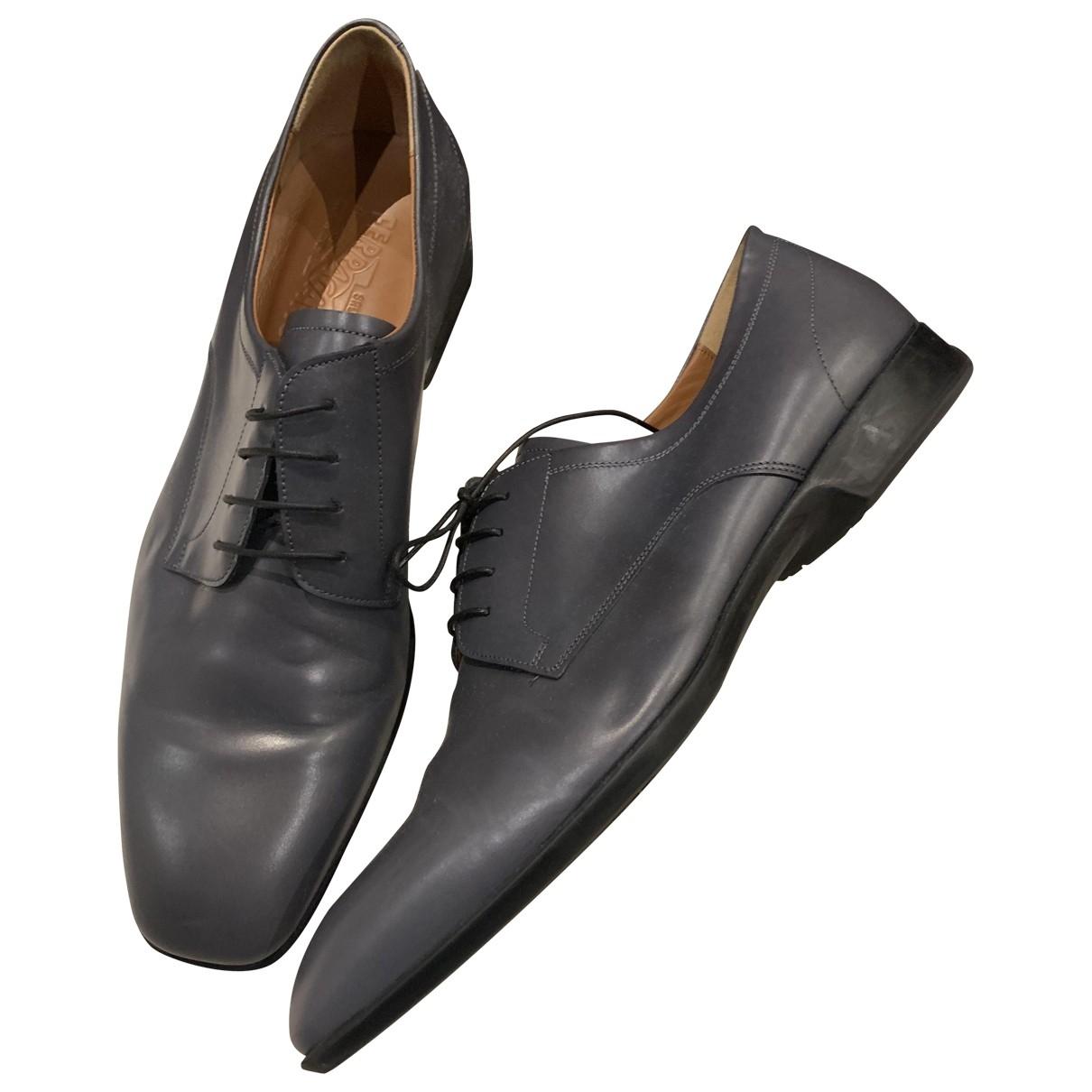 Salvatore Ferragamo \N Grey Leather Lace ups for Men 9.5 UK