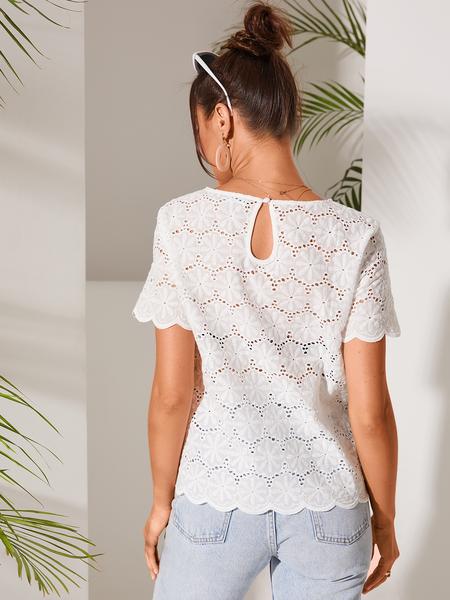 YOINS White Hollow Design Round Neck Short Sleeves Blouse