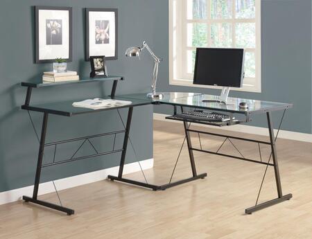 I 7172 Computer Desk - Black Metal Corner with Tempered