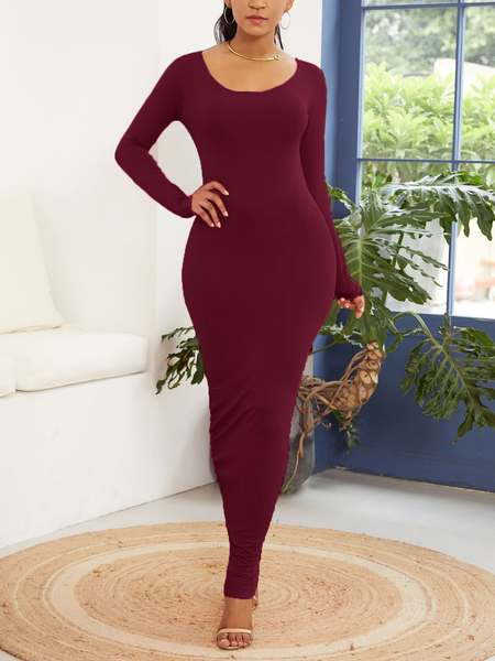 Yoins Bodycon Casual Round Neck Long Sleeves Dress