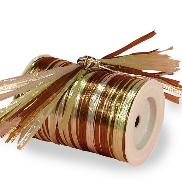 Cord 1/4 X 100 Yards Chocolate Celadon & White Metallic Raffia by Ribbons.com Width 1/8