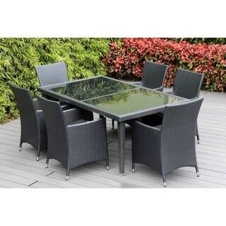 Ohana Outdoor Patio 7 Piece Black Wicker Dining Set with Cushions (Grey)