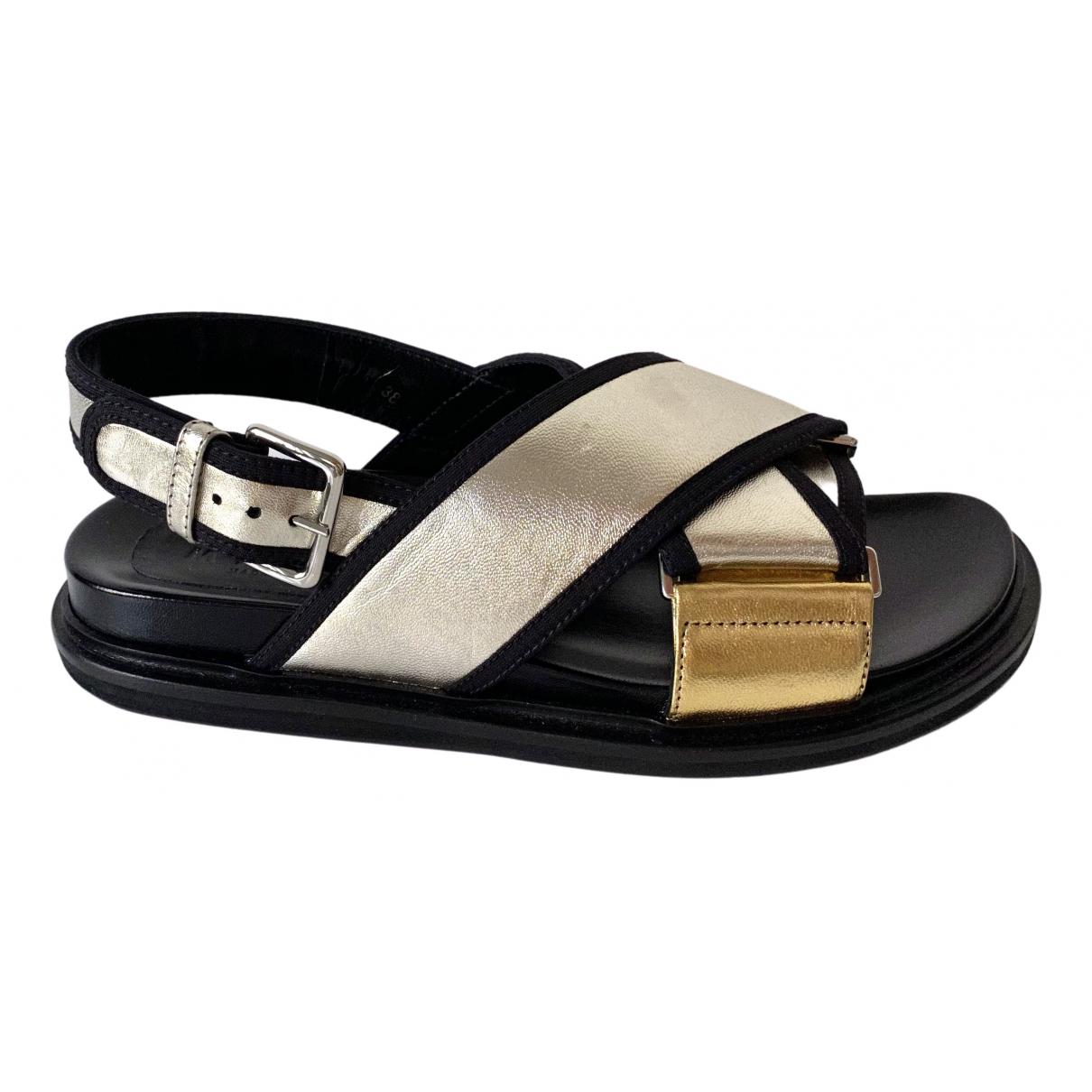 Marni - Sandales   pour femme en cuir - metallise