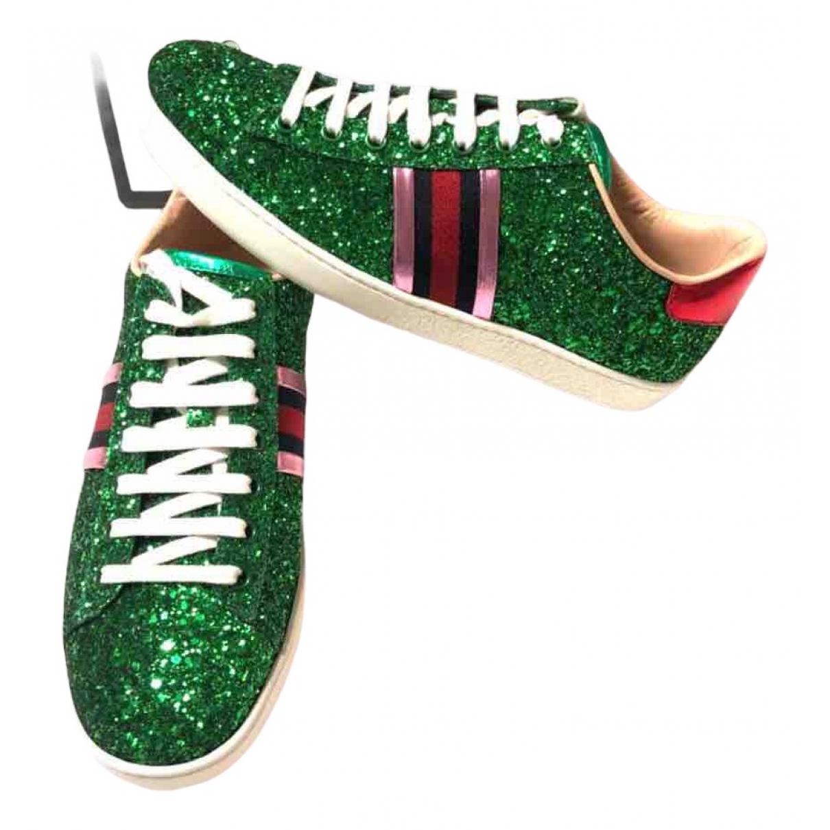 Gucci - Baskets Ace pour femme en a paillettes - vert
