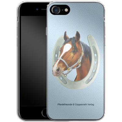 Apple iPhone 8 Silikon Handyhuelle - Pferdefreunde Hufeisen Blau von Pferdefreunde
