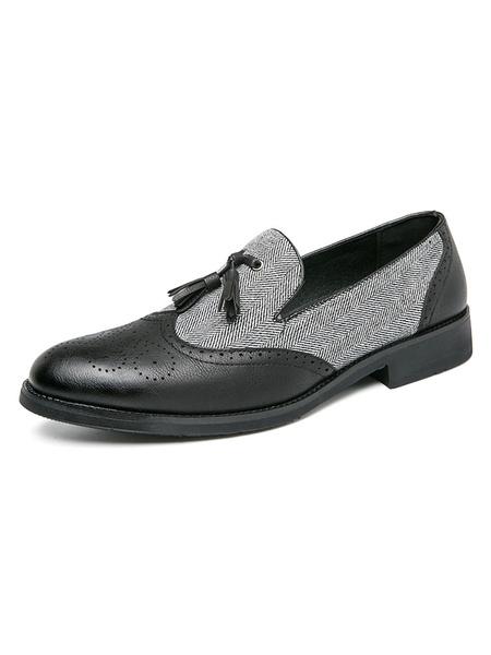 Milanoo Zapatos holgados para hombre Zapatos comodos de vestir de cuero PU con bloques de color con borlas