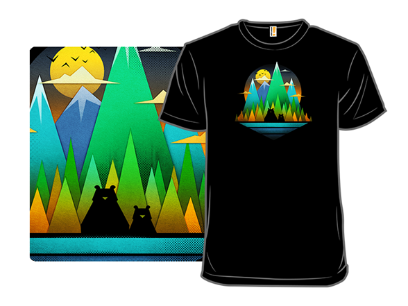 Geometric Landscape Bears T Shirt