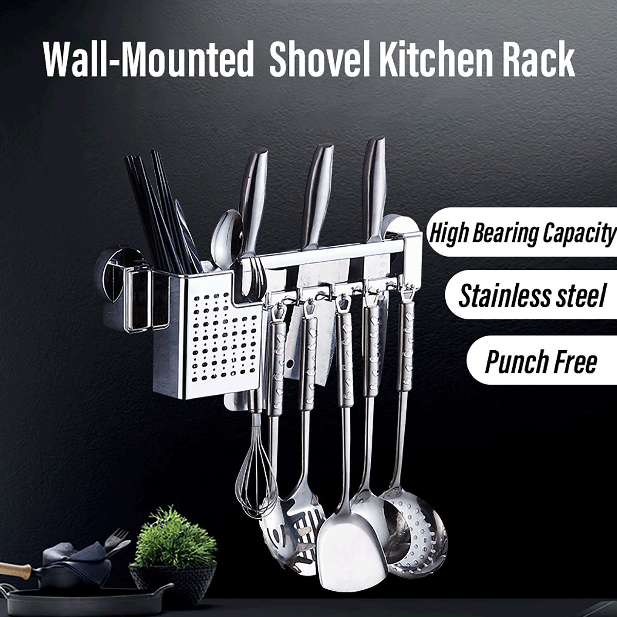 Stainless Steel Kitchen Racks Seamless Wall Hanging Chopsticks Kitchenware Combination Storage Rack