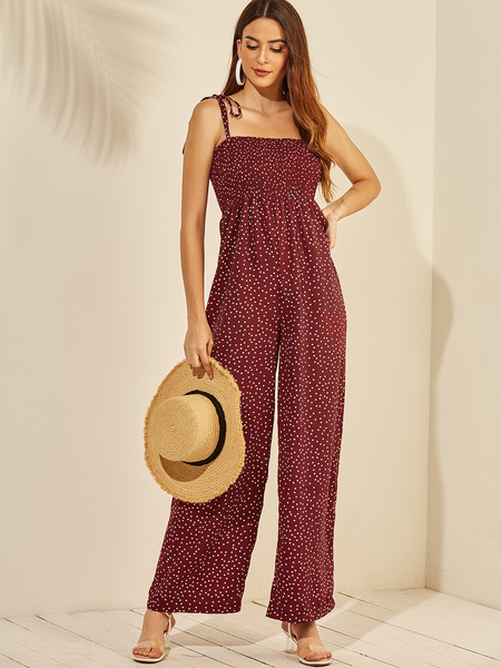 Yoins Red Lace-up Design Polka Dot Sleeveless Jumpsuit