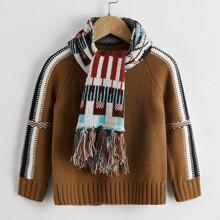 Toddler Boys Contrast Sideseam Raglan Sleeve Sweater & Scarf