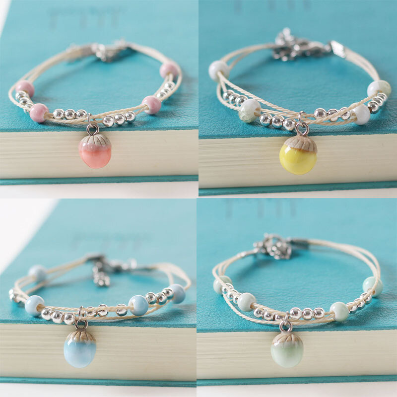 Ethnic Hand-woven Ceramic Beads Bracelet Geometric Water Drop Pendant Adjustable Bracelet