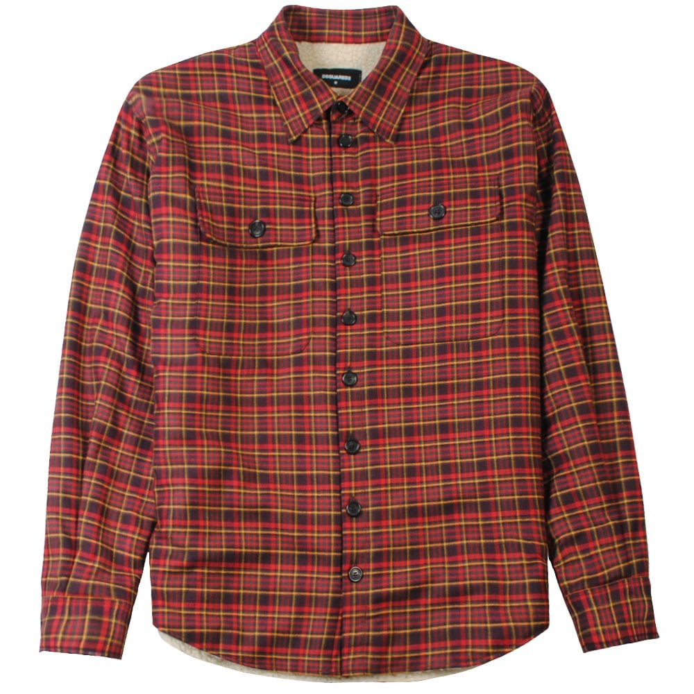 DSquared2 Checkered Fleece Shirt Colour: RED, Size: LARGE