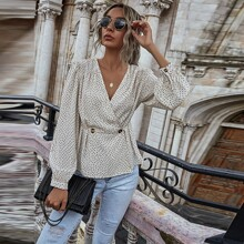 Puff Sleeve Allover Print Wrap Blouse