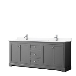 Avery 80 Inch Double Vanity, Cultured Marble Top (Dark Gray, White Cultured Marble)