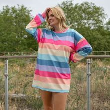 Plus Rainbow Striped Longline Sweatshirt