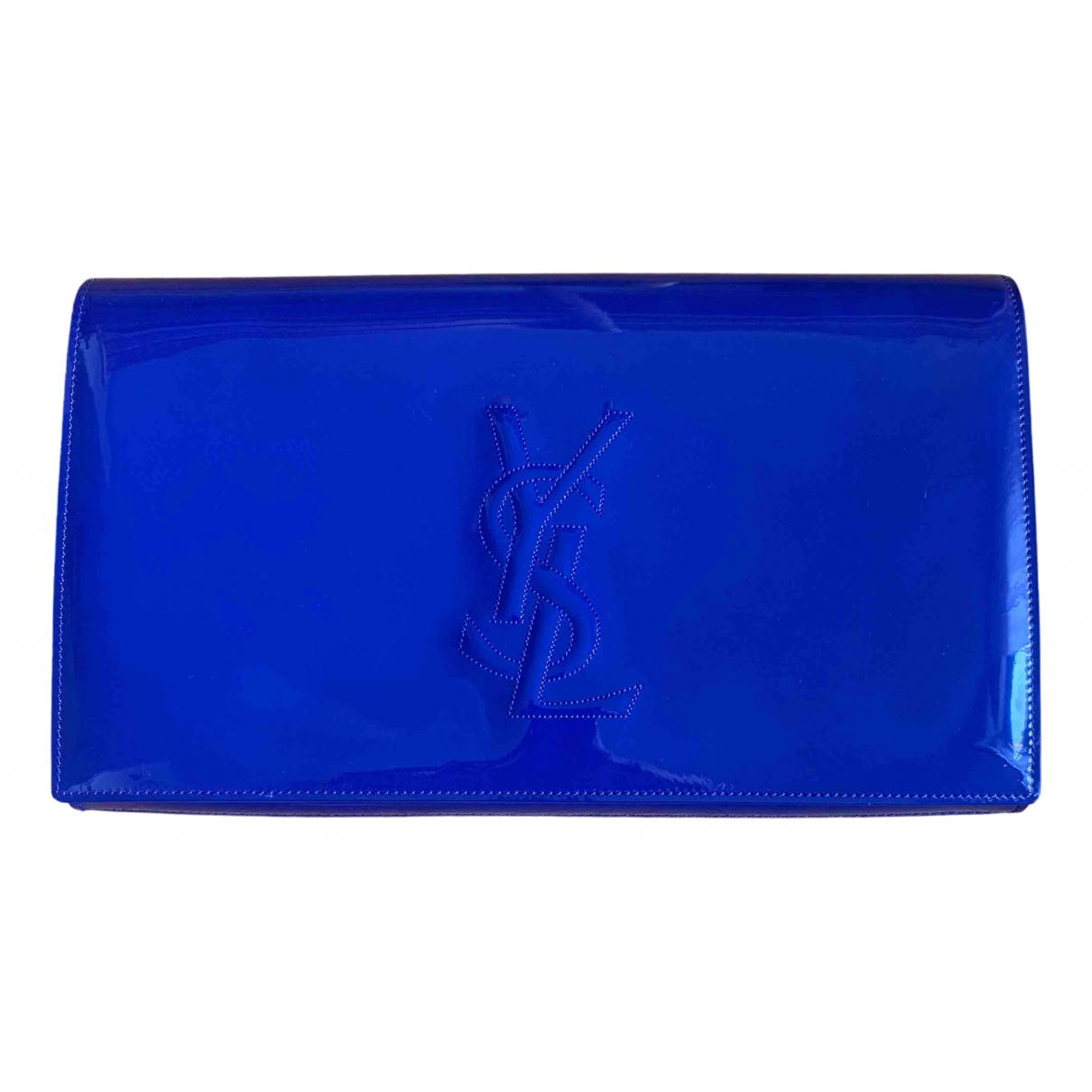 Yves Saint Laurent Belle de Jour Blue Patent leather Clutch bag for Women N