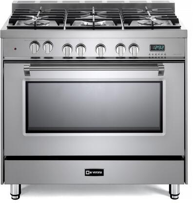 VPFSGE365SS 36 Prestige Series Freestanding Dual Fuel Range with Single Oven  5 Sealed Burners  2 Racks  and Cast-Iron Grates  in Stainless