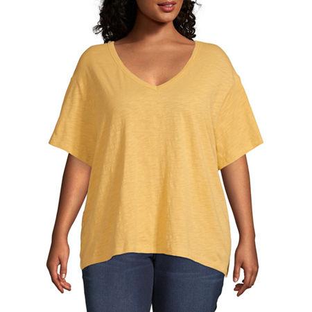 Arizona Womens V Neck Short Sleeve T-Shirt - Juniors Plus, 2x , Yellow