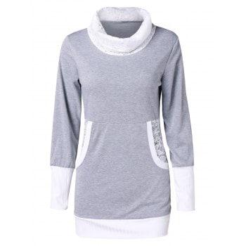 Two Tone Lace Insert Front Pockets Turtleneck Sweatshirt