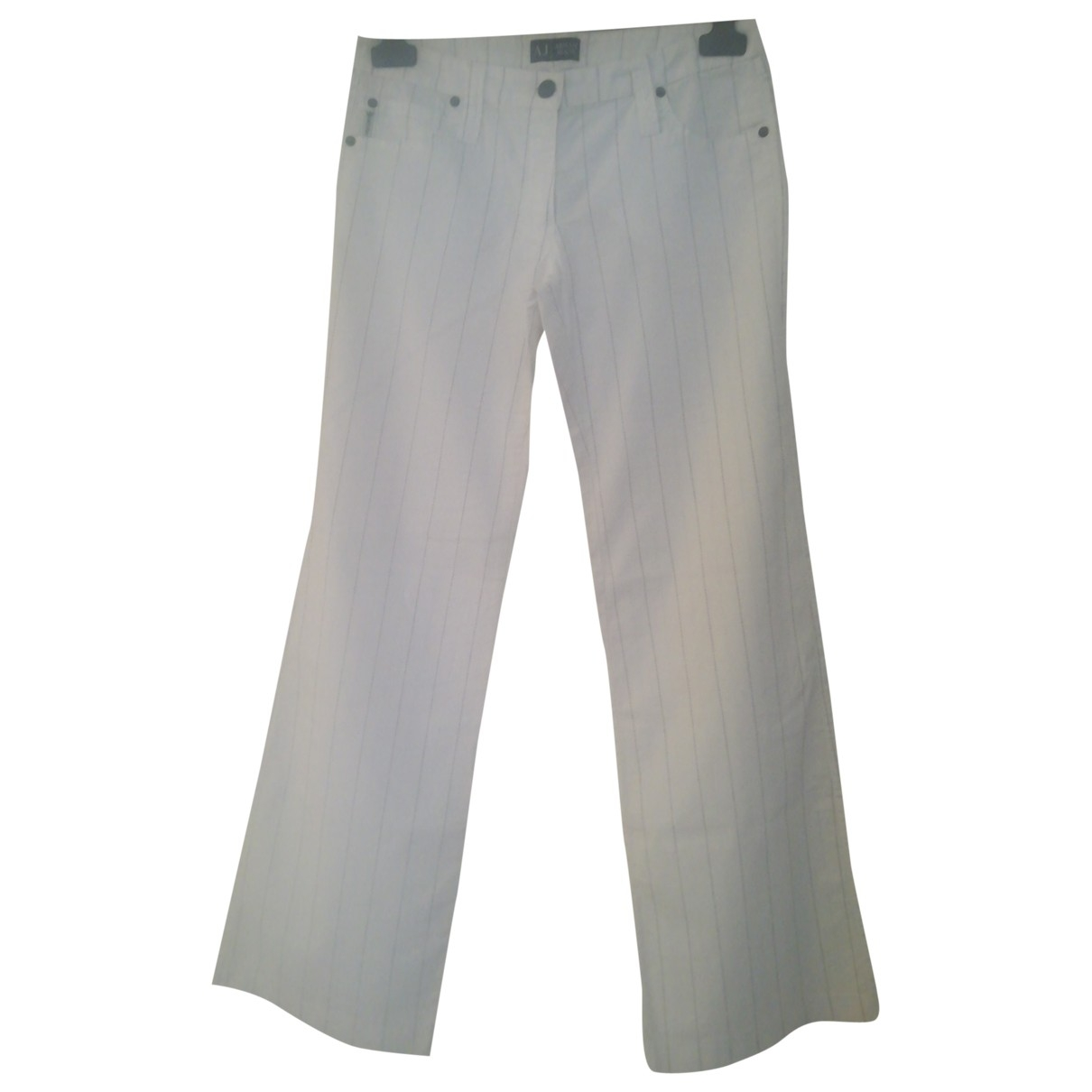 Armani Jeans \N White Cotton Trousers for Women 42 IT