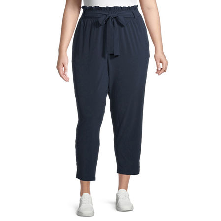 Stylus-Plus Paperbag Waist Loose Fit Tapered Trouser, 3x , Blue
