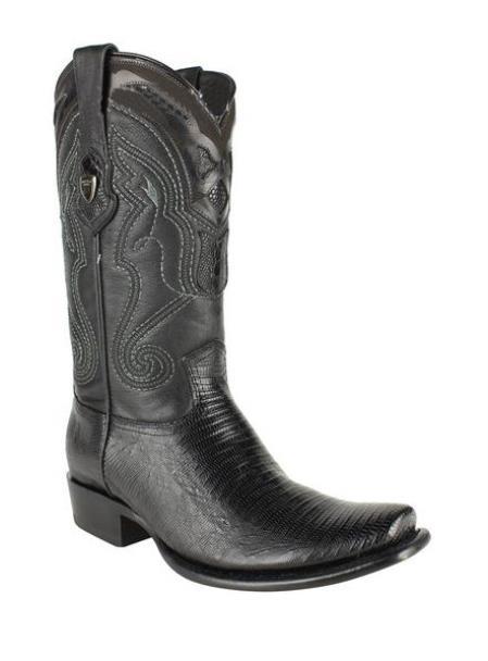 Mens Black Wild West Square Toe Genuine Teju Lizard Leather Boots
