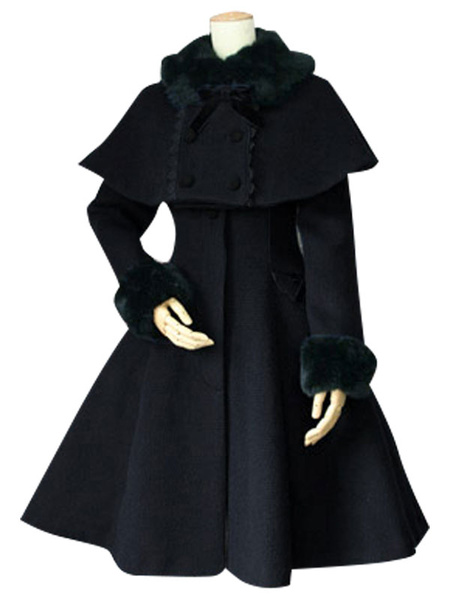 Milanoo Sweet Lolita Coat Black Wool Turndown Collar Long Sleeve Slim Fit Detachable Lolita Cape Coat