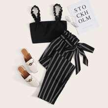 Plus Frill Trim Strap Top & Paperbag Waist Striped Pants Set