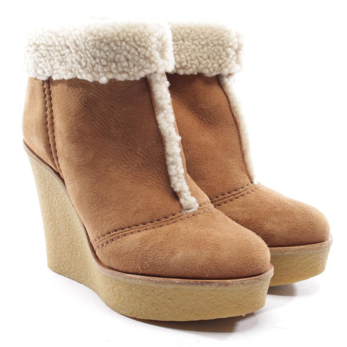 Chloe - Boots   pour femme en suede - camel