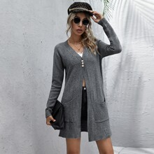 Pearls Button Front Dual Pocket Longline Cardigan