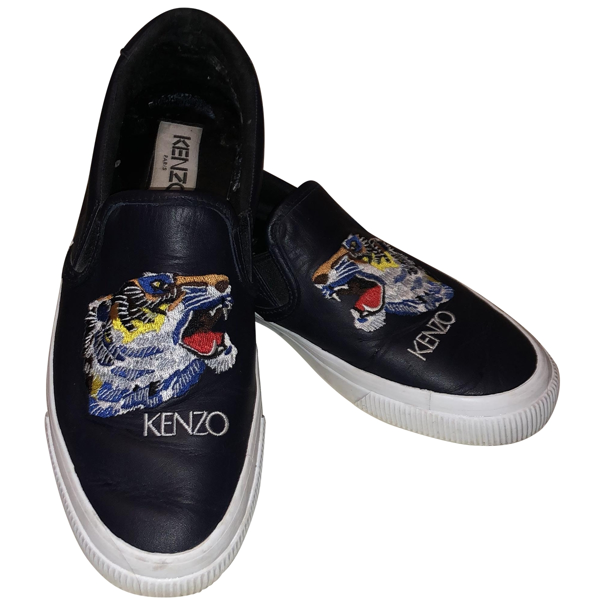Kenzo \N Navy Leather Trainers for Women 38 EU