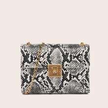 Snakeskin Flap Chain Crossbody Bag