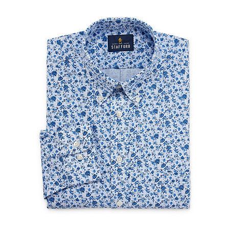 Stafford Mens Wrinkle Free Oxford Button Down Collar Regular Fit Dress Shirt, 16.5 36-37, Blue