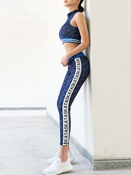 Milanoo Activewear Yoga Clothing White Sleeveless Sexy Workout Clothing Stretchy