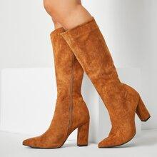 Side Zip Suede Knee Boots