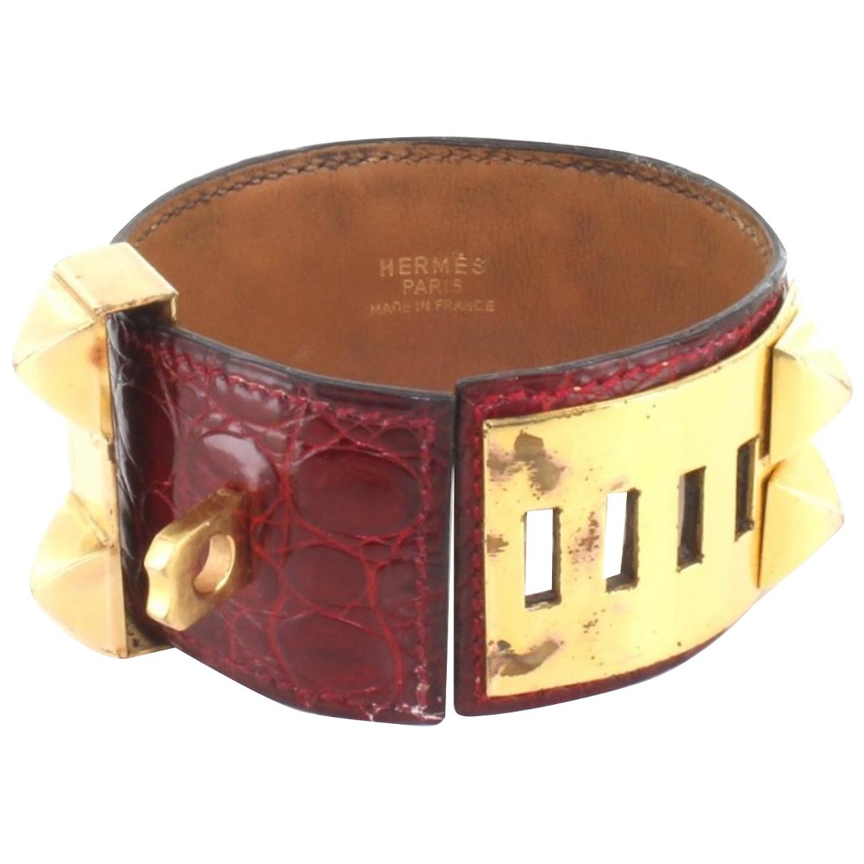 Hermes - Bracelet Collier de chien  pour femme en crocodile - rouge