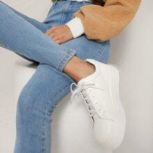 Zapatos deportivos con plataforma interior de leopardo con cordones