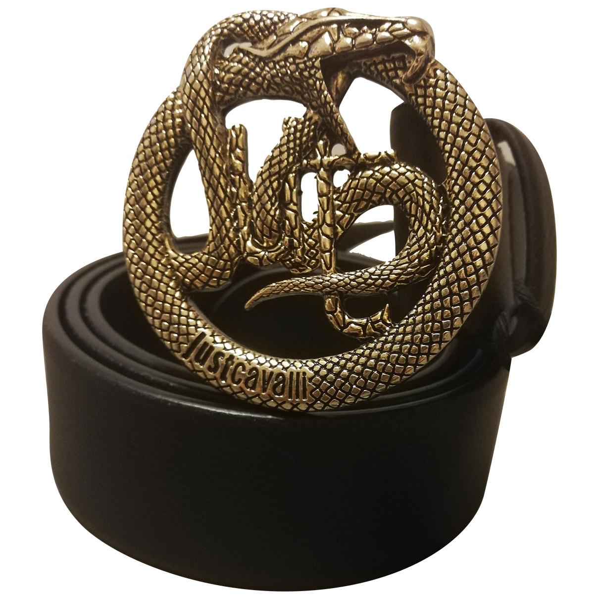 Just Cavalli N Black Leather belt for Men 90 cm