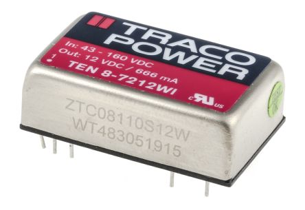 TRACOPOWER TEN 8WI 8W Isolated DC-DC Converter Through Hole, Voltage in 43 → 160 V dc, Voltage out 12V dc