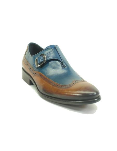 Mens Monk Strap Leather Wingtip Loafers by Carrucci - Cognac/Blue