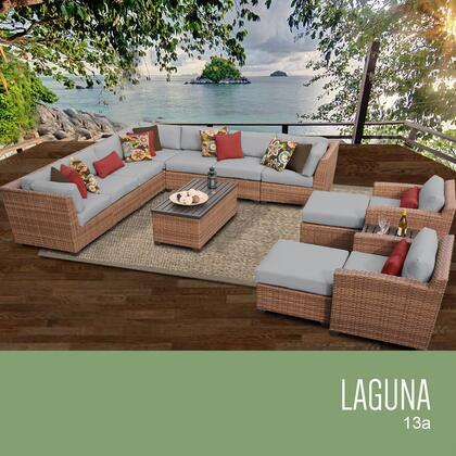 LAGUNA-13a-GREY Laguna 13 Piece Outdoor Wicker Patio Furniture Set 13a with 2 Covers: Wheat and